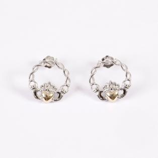 10k Gold & Silver Claddagh Stud Earrings