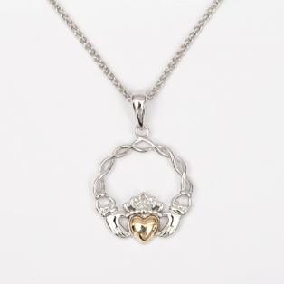 10k Gold & Silver Claddagh Pendant