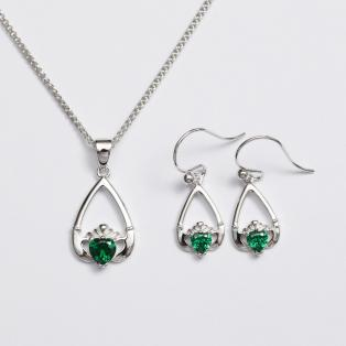 Claddagh Birthstone Pendant & Earrings Set