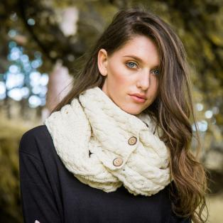 Celtic Merino Wool Snood with Buttons