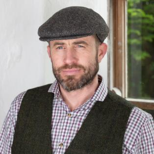 Gray/Brown Irish Wool Flat Cap