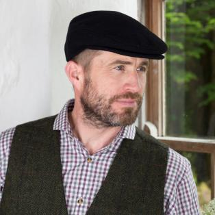 Black Irish Wool Flat Cap
