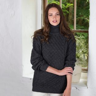 Women's Aran Turtleneck Sweater