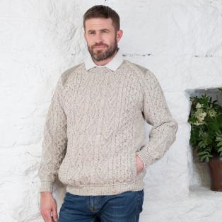Tweed Shoulder Merino Crew Neck Sweater