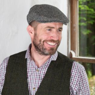 Gray Herringbone Irish Wool Flat Cap