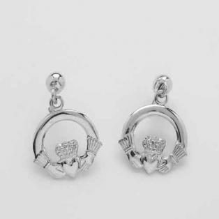 Silver Claddagh Drop Earrings