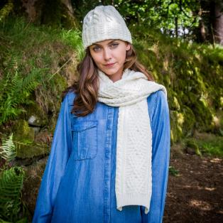 Ladies' Cashmere Blend Aran Hat & Scarf Set