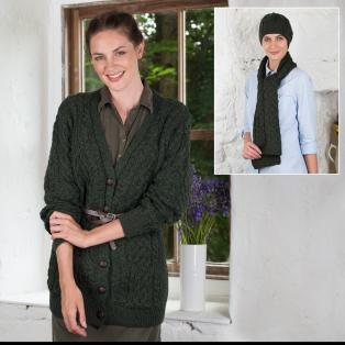 Ladies Boyfriend Cardigan, Hat & Scarf Set