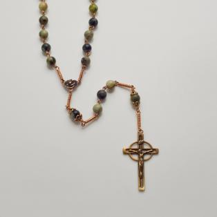 Connemara Marble 5 Decade Rosary Celtic Cross