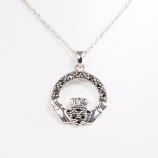 Sterling Silver & Marcasite Small Claddagh Pendant