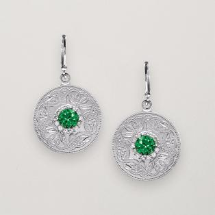 Celtic Shield Drop Earrings Green