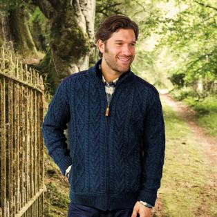 Mens Full Zip Aran Cardigan