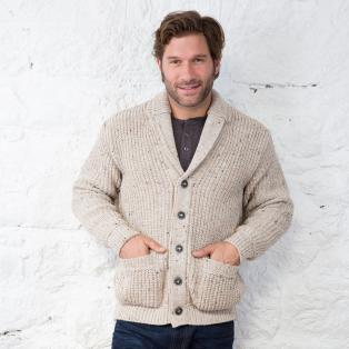 Mens Shawl Collar Button Cardigan