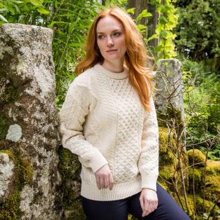 Lightweight Crew Neck Aran Sweater