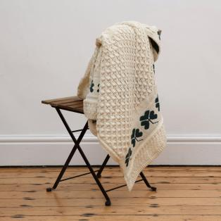 Wool Shamrock Throw Blanket