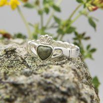 Silver Connemara Marble Claddagh Ring