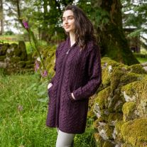 Hooded Aran Zipper Coat