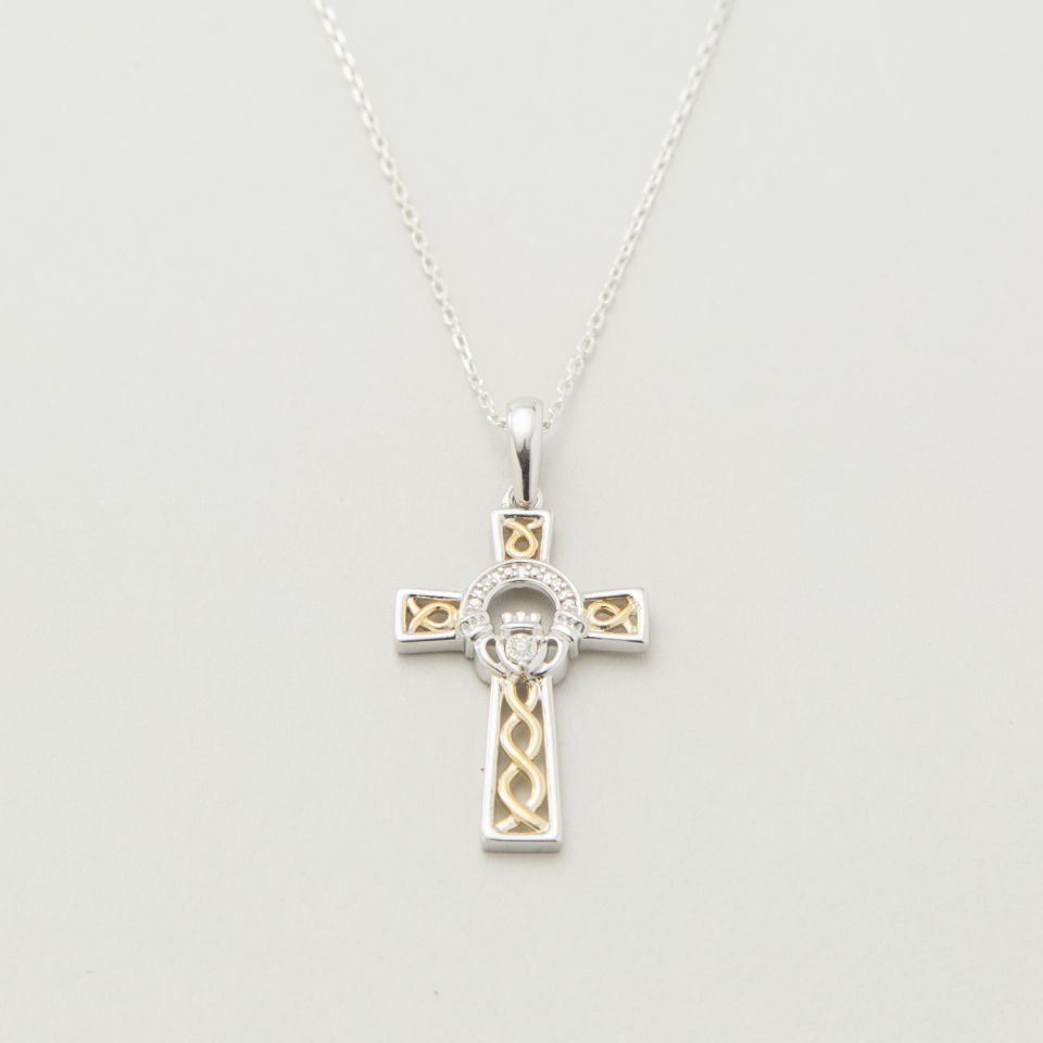 10k Gold Diamond Claddagh Cross Pendant