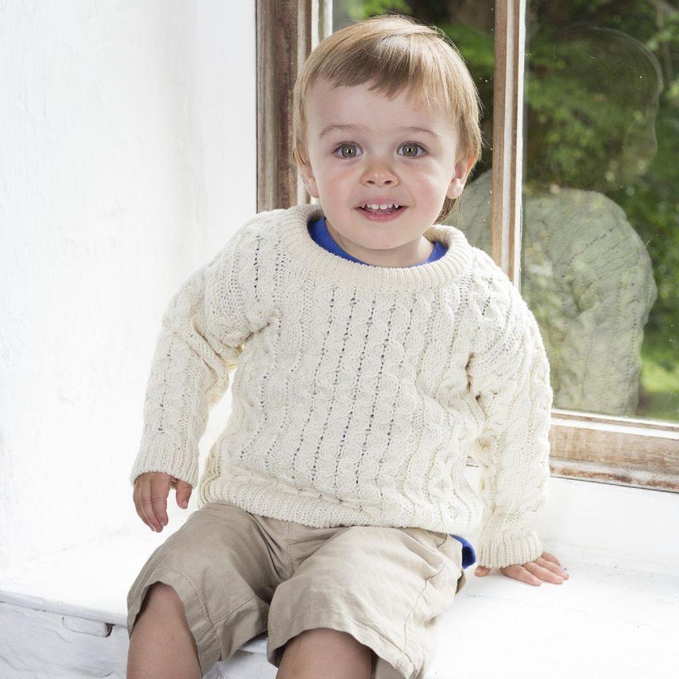 Kids Crew Neck Aran Sweater - Clearance Sale
