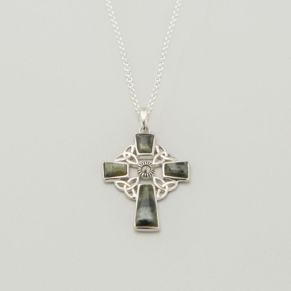 Marcasite & Connemara Marble Celtic Cross