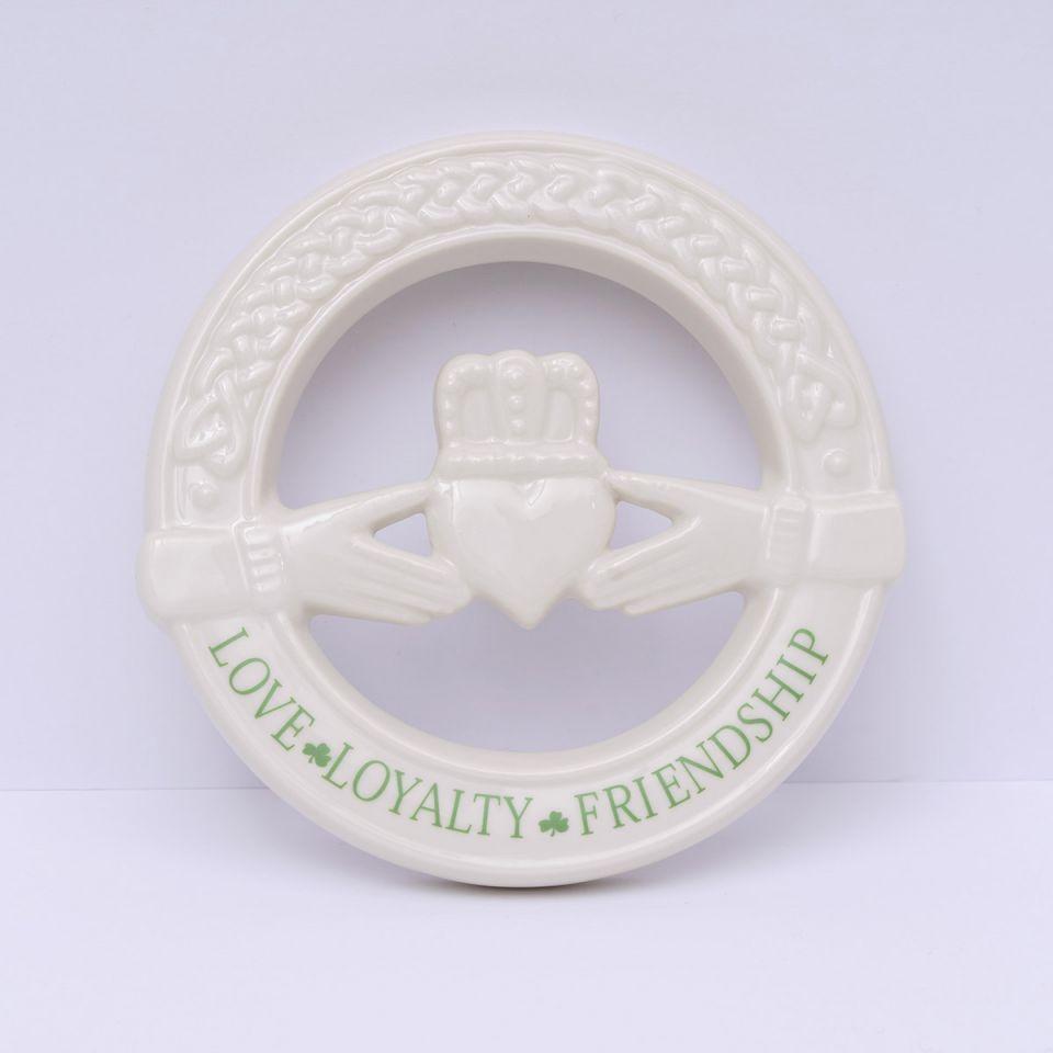 Irish Homeware Belleek Claddagh Wall Plaque