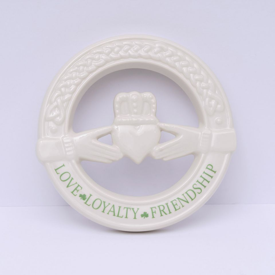 Irish Homeware Belleek Claddagh Wall Plaque