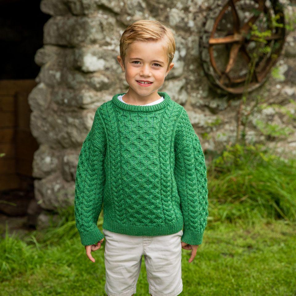 Kids Crew Neck Aran Sweater  Irish Christmas Gifts