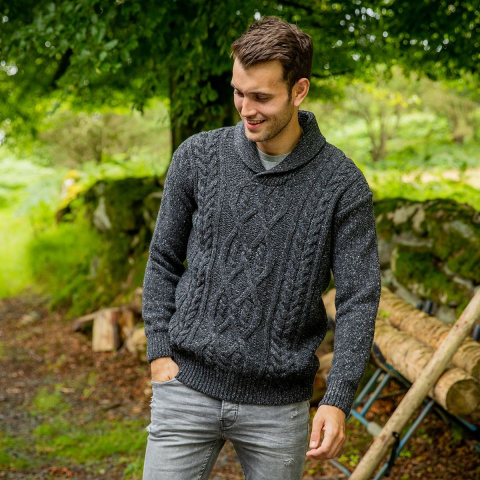winter collection 2020 Clonard Shawl Collar Aran Sweater
