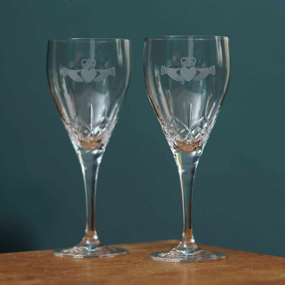 Irish Homeware Galway Crystal Claddagh Red Wine Glasses