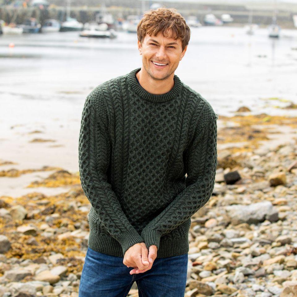 St Patrick's Day mens Aran sweater
