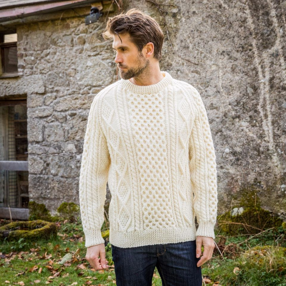Hand knit Aran sweater