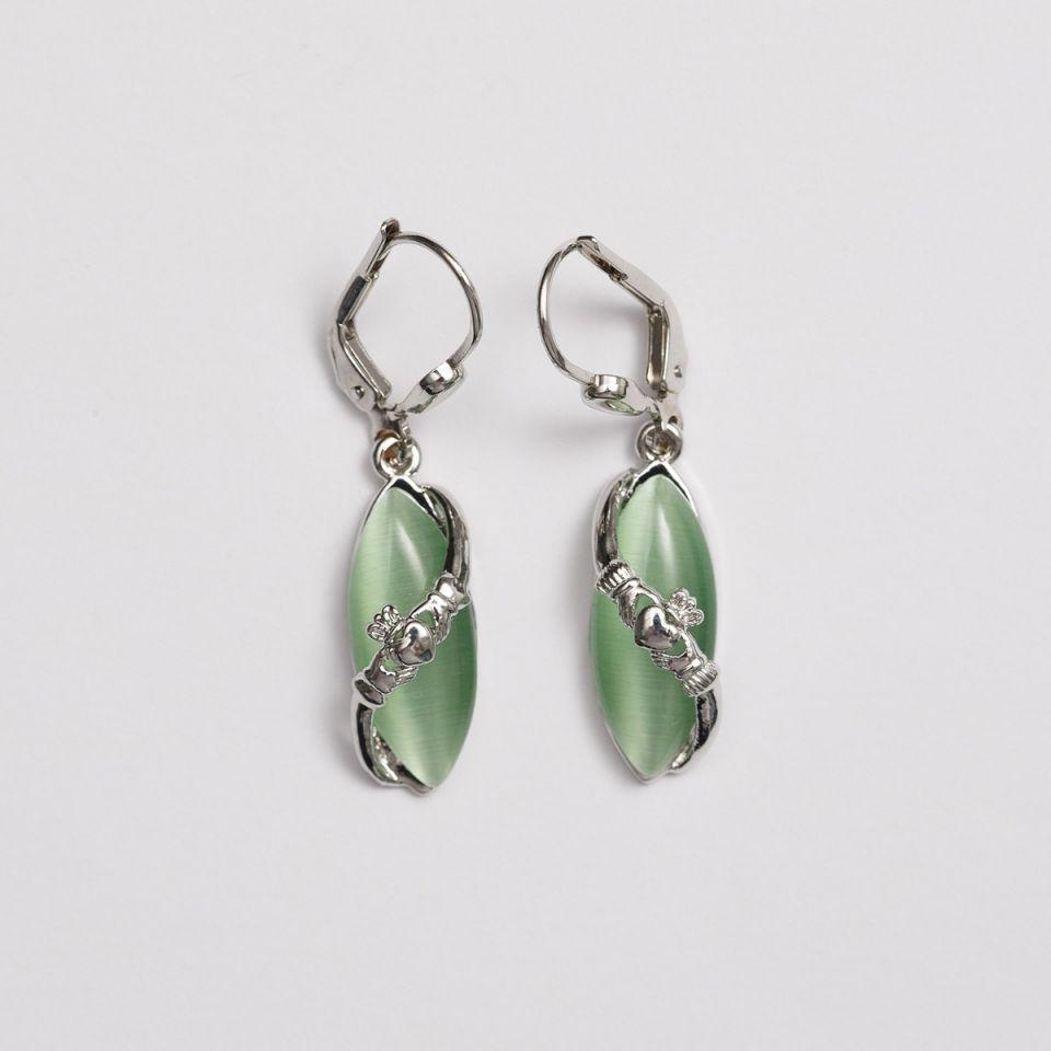 Claddagh Cat's Eye Drop Earrings St. Patrick's Day Jewelry
