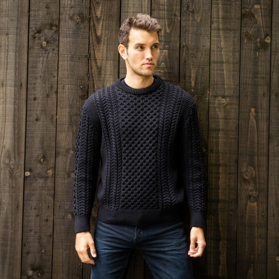 Black Aran Sweater for him