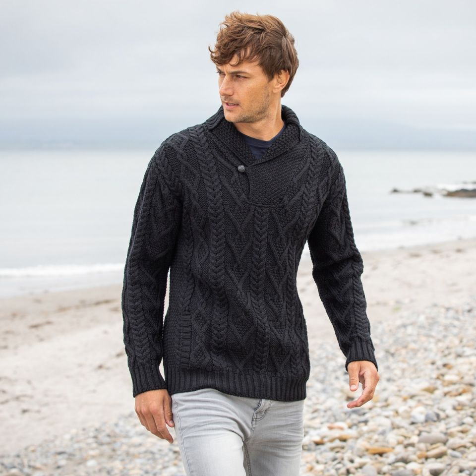 One Button Black Aran sweater