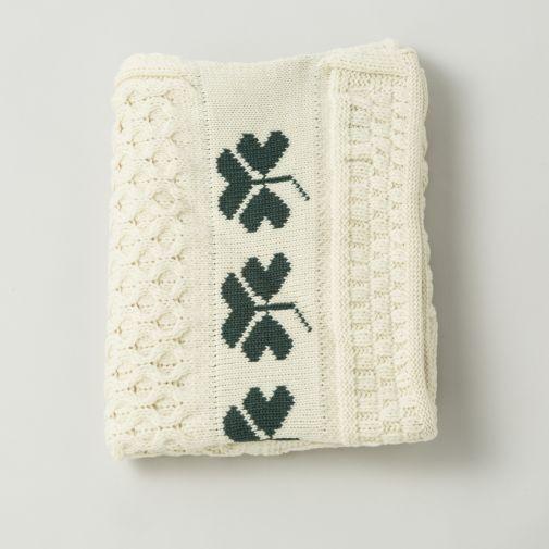 Irish Wool Shamrock Baby Blanket