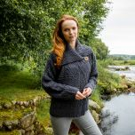 Ladies One Button Aran Cardigan