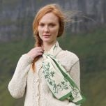 Cream & Green Shamrock Silk Scarf