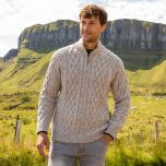 Mens Half Zip Irish Aran Sweater