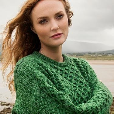 traditional handknitted soft merino Aran Sweater