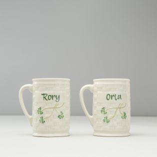 Belleek Set of 2 Personalized Name Mugs