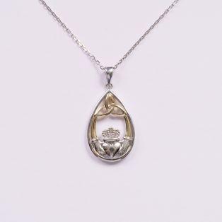 10K Gold & Diamond Oval Claddagh Pendant