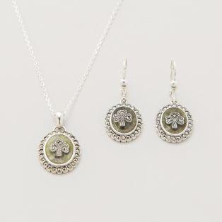 Connemara Marble Shamrock Pendant and Earrings Set