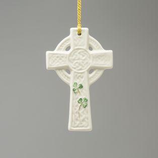 Belleek St. Kieran's Celtic Cross Ornament