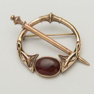 Celtic Bronze Carnelian Brooch