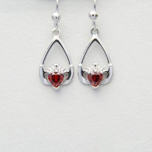 Claddagh Sterling Silver Birthstone Earrings