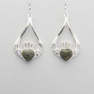 Connemara Marble Silver Claddagh Drop Earrings