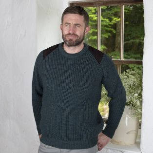 Fishermans Rib Sweater With Patches