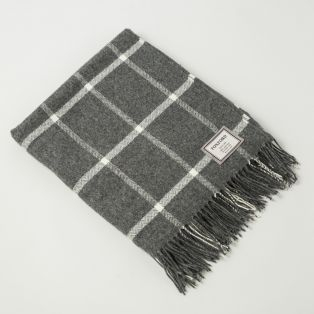 Foxford Gray Windowpane Throw Blanket