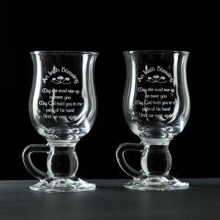 Galway Crystal Irish Blessing Coffee Glasses Pair