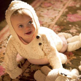 Handknitted Merino Wool Baby Side Fastening Hoodie